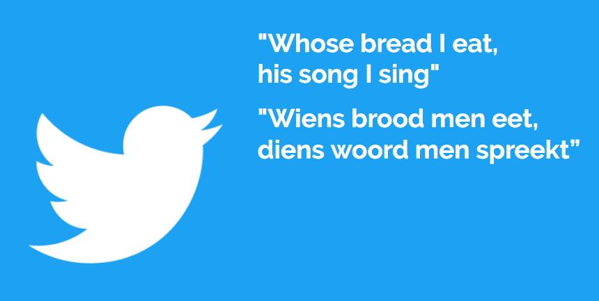 Wiens brood men eet, diens woord men spreekt